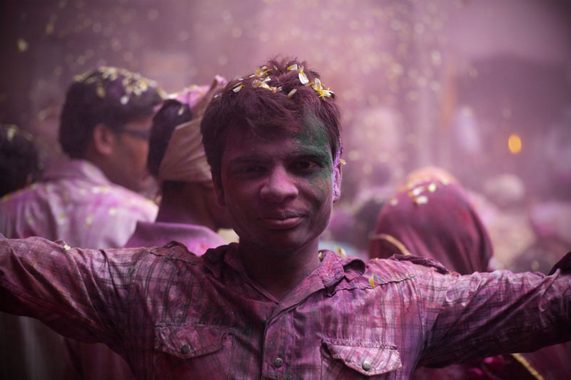 Holi Festival inside a temple in Mathura, India